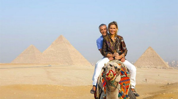 Giza pyramids and camel