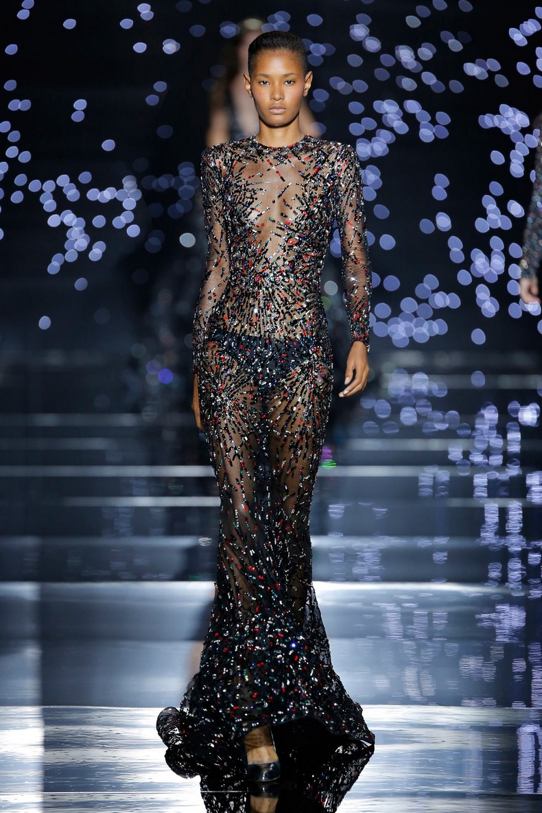 Zuhair Murad Haute Couture FW 2016 - Coal black Chantilly lace sheath dress with cosmic crystal constellation embroidery
