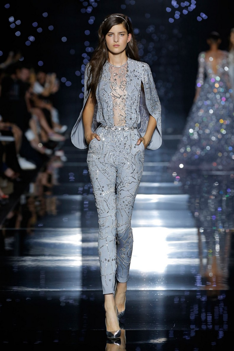 Zuhair Murad Haute Couture FW 2016 - Fitted jumpsuit with grey silk crepe cape sleeves and constellation map ornamentation