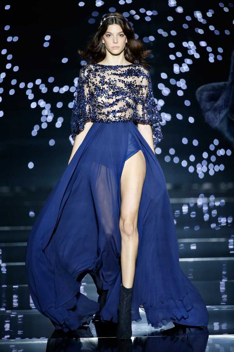 Zuhair Murad Haute Couture FW 2016 - Fluid long dress with midnight blue crepe georgette cape sleeves and star constellations