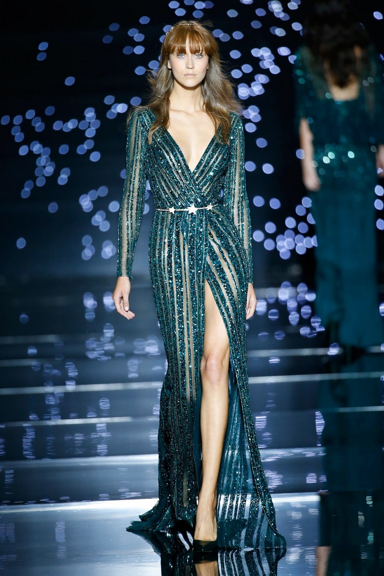 Zuhair Murad Haute Couture FW 2016 - Green chrome silk tulle wrap-front dress interlaced with rays of rocks