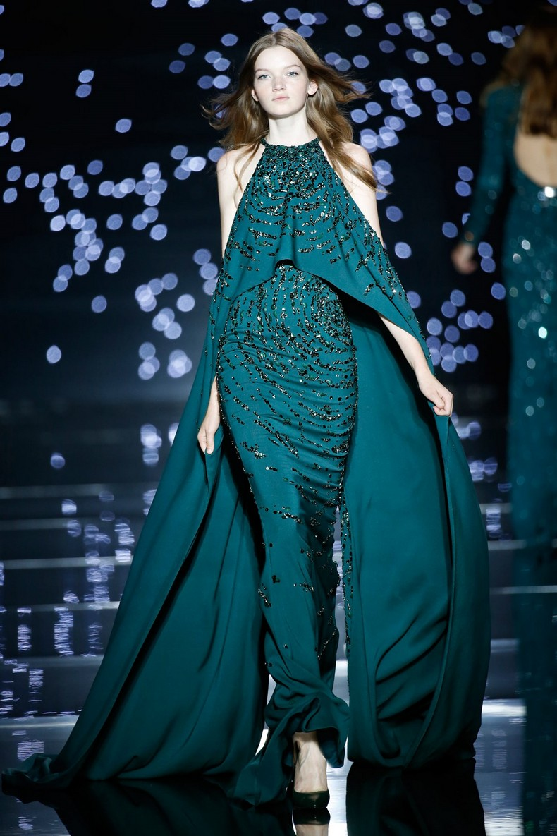 Zuhair Murad Haute Couture FW 2016 - Long fitted dress with a slit cape, green silk crepe shoulder and stone and sequin embroidery
