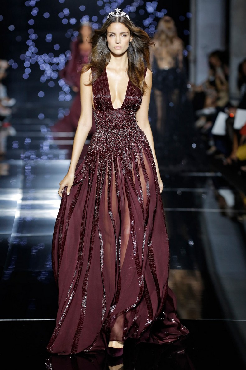 Zuhair Murad Haute Couture FW 2016 - Long fluid dress with a deep plunging neckline in garnet crepe georgette and tone on tone crystal embroidery