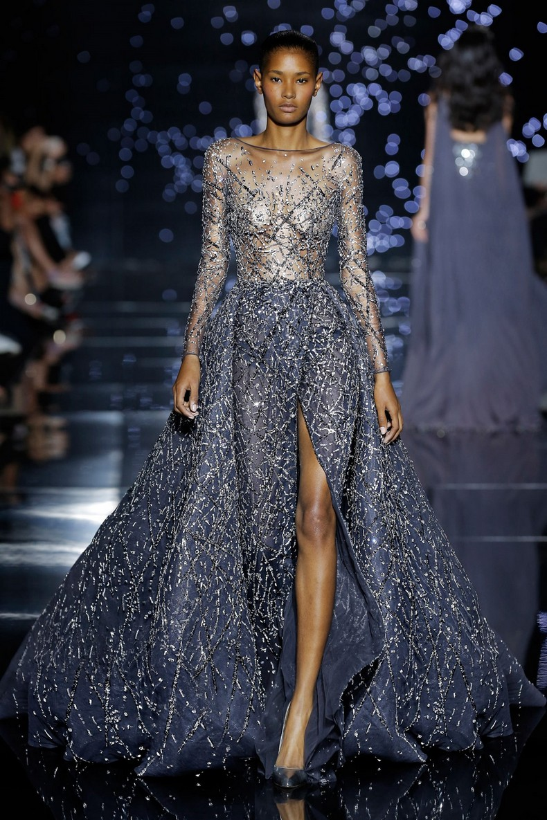 Zuhair Murad Haute Couture FW 2016 - Long grey dress, crossed with an overskirt and train in silk tulle with spark adornment