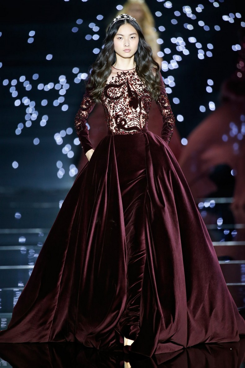 Zuhair Murad Haute Couture FW 2016 - Long velvet burgundy dress with wide over-skirt and transparent embroidered bust