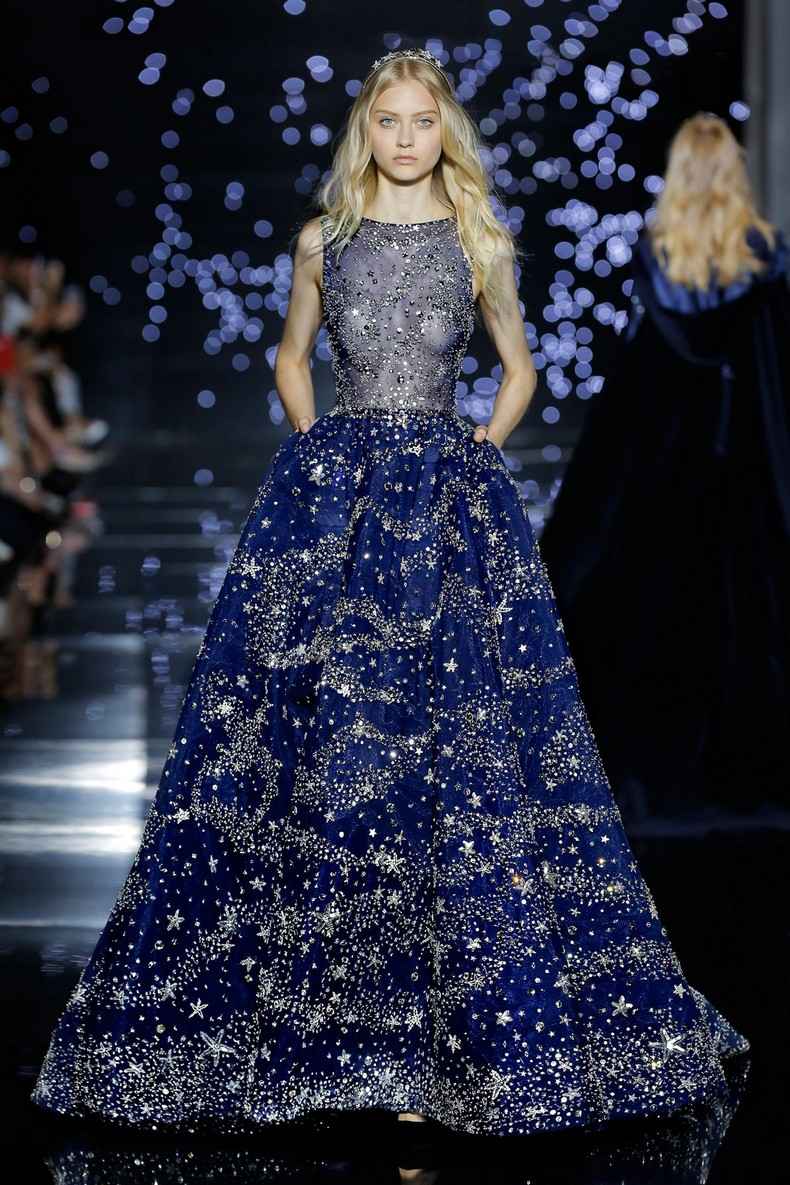Zuhair Murad Haute Couture FW 2016 - Long wide dress with midnight blue tulle bateau neckline dotted with silver crystals
