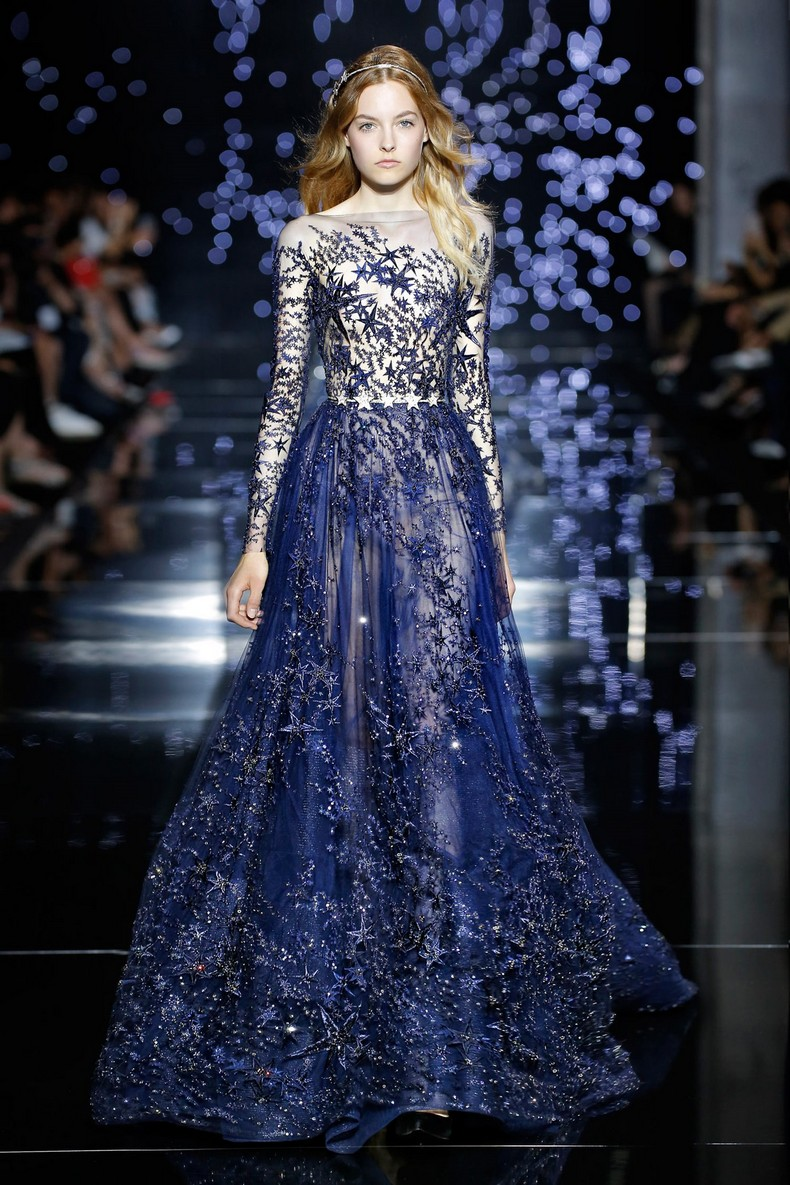 Zuhair Murad Haute Couture FW 2016 - Long wide tulle dress with midnight blue star and crystal constellations
