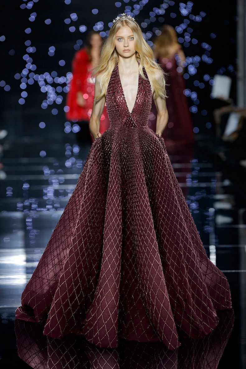 Zuhair Murad Haute Couture FW 2016 - Long wrap front dress with plunging neckline in silk tulle featuring a cut off garnet adorned with crystals