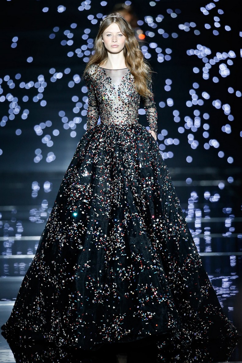 Zuhair Murad Haute Couture FW 2016 - Meteor black tulle ball gown embroidered with constellations