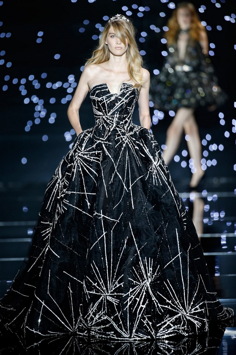 Zuhair Murad Haute Couture FW 2016 - Meteor black tulle ball gown with silver shooting star embroidery