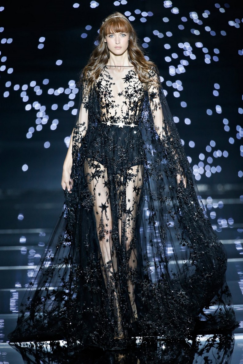 Zuhair Murad Haute Couture FW 2016 - Meteor black tulle kaftan dress with star constellations