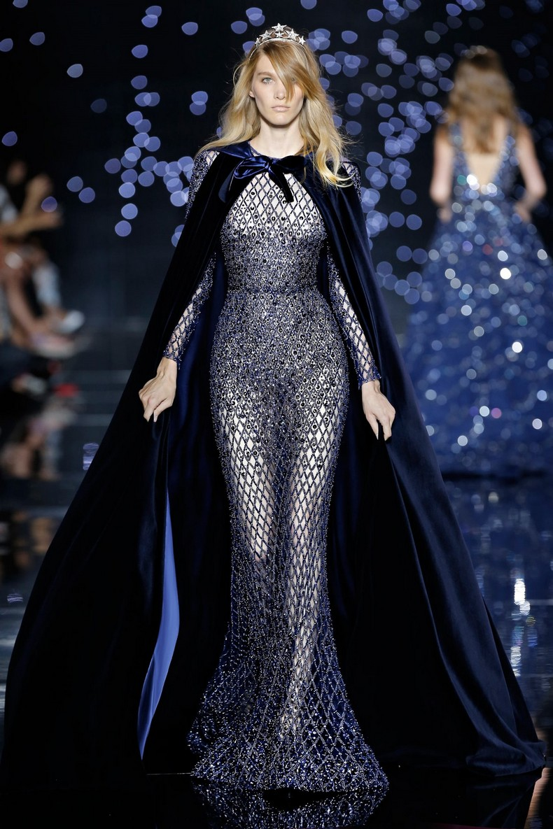 Zuhair Murad Haute Couture FW 2016 - Midnight blue velvet cape on long flared tulle dress with crystal embellishment
