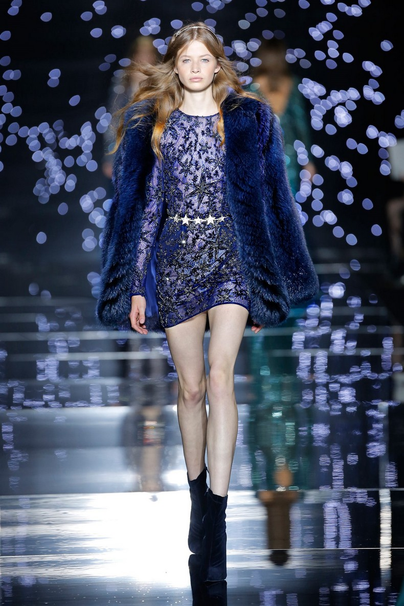 Zuhair Murad Haute Couture FW 2016 - Midnight fox fur coat worn with a silk blue and Silver Star embroidered fitted dress