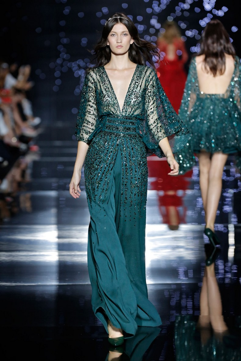 Zuhair Murad Haute Couture FW 2016 - Wide sleeved fitted jumpsuit with plunging neckline with green silk tulle crystal dotted top and silk crepe pants